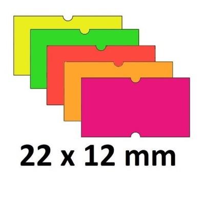 Lipnios etiketės markiratoriams 22 x 12 mm spalvotos (rulone 1000 vnt.)