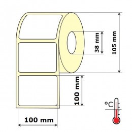 Lipnios etiketės 100 x 100 mm Termo Eco (rulone 500 vnt.)