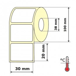 Lipnios etiketės 30 x 20 mm Thermal Eco (rulone 2000 vnt.)