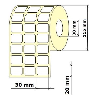 Lipnios etiketės 30 x 20 mm 3 stulpeliai Vellum (rulone 9000 vnt.)