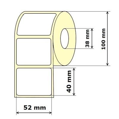 Lipnios etiketės 52 x 40 mm Semi Gloss (rulone 1000 vnt.)